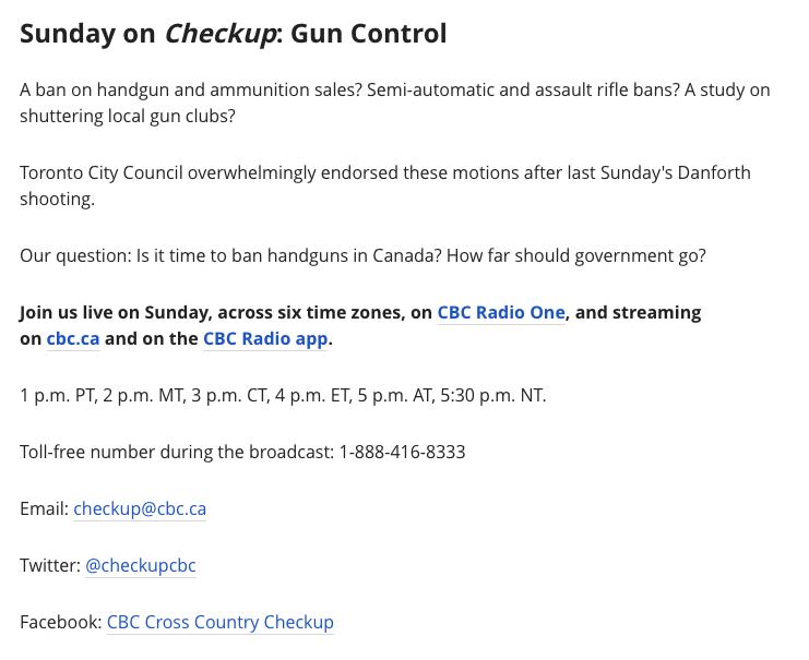 CBC Radio Cross Country Checkup Gun Ban