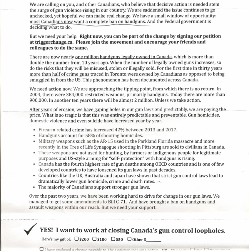Canadian Coalition for Gun Control Fundraising Letter